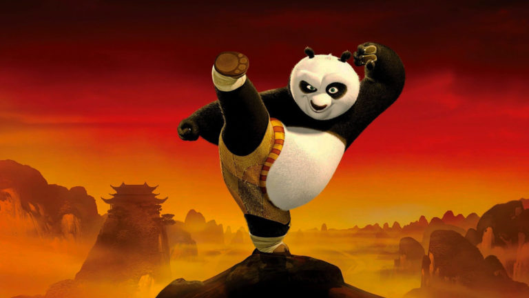 The protagonist of Kung Fu Panda (Po) is training on a hill
